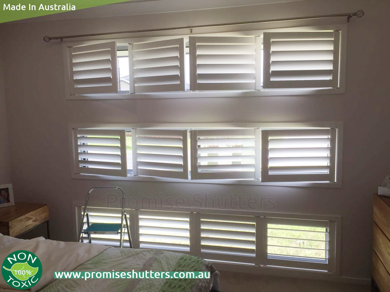 4 Panels Of White Vinyl Shutters For The Wide Small Windows