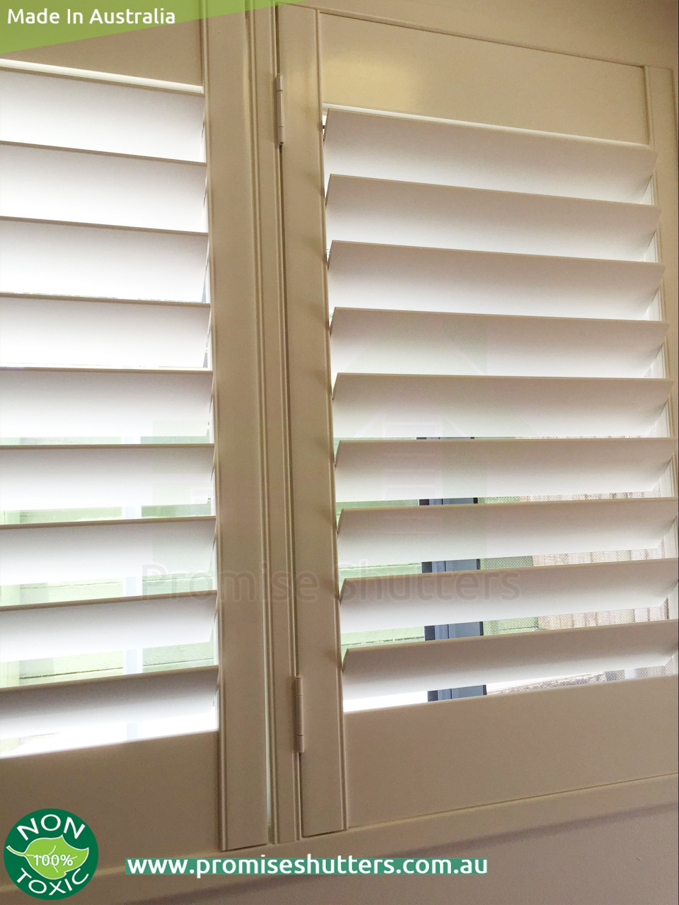 White Solid Vinyl Plantation Shutters With Wood Architrave Window Shutters With Added Z Frame