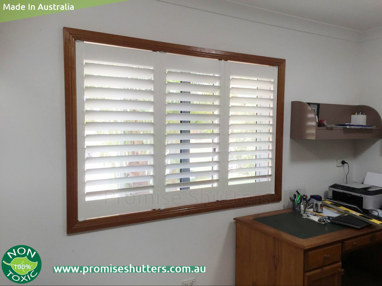 white solid Vinyl plantation shutters with wood architrave & window ...